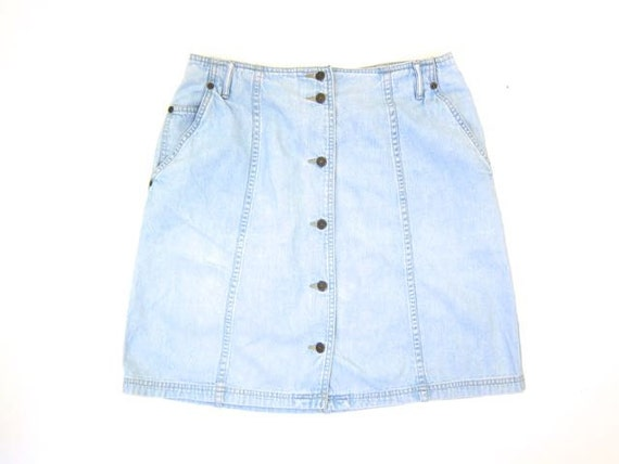 Denim Mini Skirt Faded Blue Jean Skirt 90s Button Up Skirt 1990s High Waisted Chambray Grunge Retro Street Vintage Womens Large