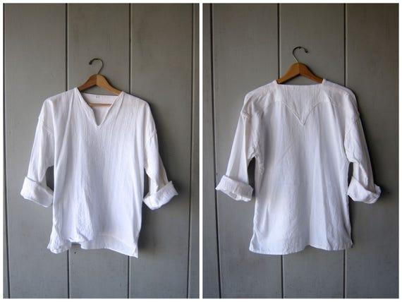 Natural White Cotton Dashiki Shirt Indian Ethnic Top Minimal Embroidered Hand Stitched Textured Cotton Blouse DES Mens Medium Large