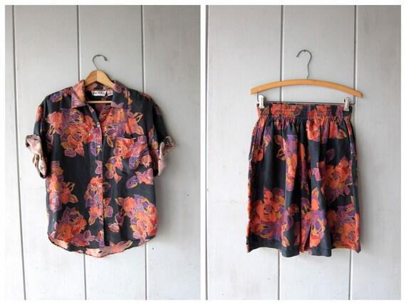 Silk Floral Shirt & Shorts Matching Set 90s Vintage Button Up Silk Tshirt + Basic Silk Floral Shorts Minimal Modern Beach DES Womens Medium