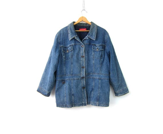 Denim Field Jacket Jean Jacket Button Up Coat Vintage 90s Oversized Jean Jacket Lined Insulated Fall Coat Womens Size 2X