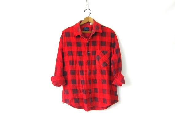 Thin Buffalo Check Flannel Shirt Worn In Red & Black Checker Camping Shirt Vintage Plaid Boyfriend GS Button Down tomboy Lumberjack Large XL