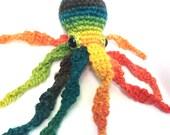 Rainbow Octopus Plushie // Crochet Stuffed Animal Octopus Plush Amigurumi