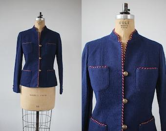 vintage 1970s blazer / 70s navy blue wool blazer / 70s suit jacket / 70s nubby wool jacket / patriotic blazer / fitted blazer / medium large