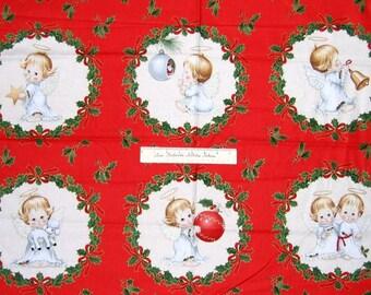 "Christmas Fabric Panel - 23"" Elizabeth's Studio Cherub & Holly Wreath Red"