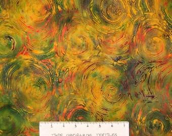 Bali Batik Fabric - Molten Lava Green Orange - Princess Mirah Quilt Cotton YARD