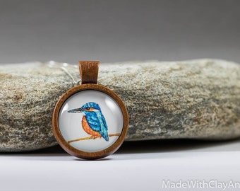 Miniature Painting Kingfisher Bird Sterling Silver Necklace Tiny Animal Songbird Nature Handmade Jewelry - Wood Glass Pendant MADE TO ORDER