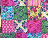 Rag Quilt with Gorgeous Roses Jennifer Paganelli Yellow Blue Pink Green Gift  Lap Picnic Blanket  Size 61 inches square Reversible