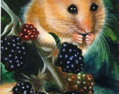 ACEO Limited Edition Hand Embellished PRINT Mouse Mice Animal Berries Nature Wildlife ART