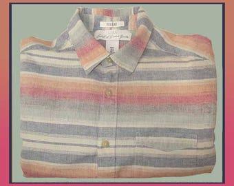 IKAT Stripes,Woven Indian Cotton Striped Mens Long Sleeve Shirt,Pale Denim Blue/Green/Orange/Red Stripes,Warm Weather,Vintage Fashion,Men