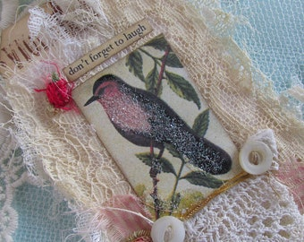 Vintage Bird Gift Tag, Lace Tag, Shabby Tag, with Vintage Bird