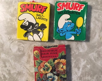 Vtg 80s SMURF licorice candy boxes from Iceland plus Vtg 40s hairpin / bobby pins from JCPenney CO