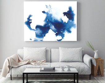 """Blue abstract painting """"Creation in Air"""" by Jules Tillman Fine Art Lustre Print minimal modern landscape watercolor painting. Large Art"""