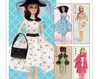BARBIE CLOTHES PATTERN - Fits 11.5 Inch Dolls / Fancy Dresses -Suit - Play Outfit - Hat - PUrses