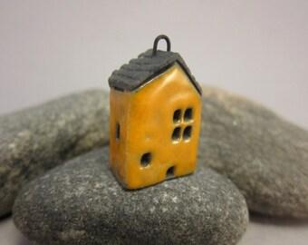 Yellow Cottage...Raku Pendant