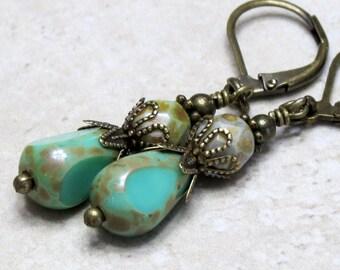 Teal Green Bead Earrings, Boho Earrings, Czech Glass Drop Earrings, Teardrop Dangle Earrings, Bohemian Boho Jewelry, Leverback earrings