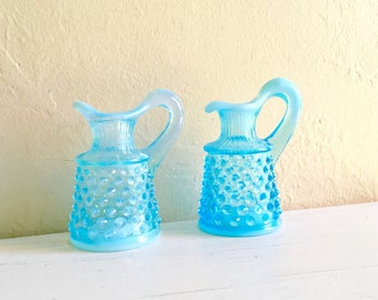 Two 2 Beautiful Bright Blue Vintage Glass Mini Pitchers Hobnail Embossed with White Small