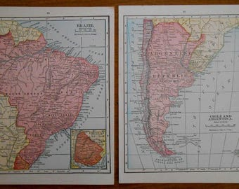 Map Of Chile Etsy - Argentina map small