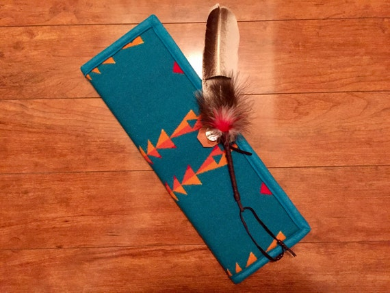 Feather Holder / Feather Case XL Wool Turquoise