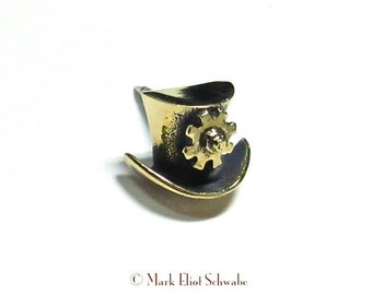 Top Hat & Gear SteamPunk tie tac, tac pin / steamy solid Brass