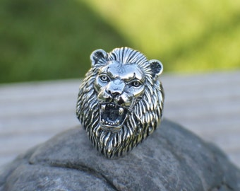 Sterling Silver Large Lion Head Ring Sz 10
