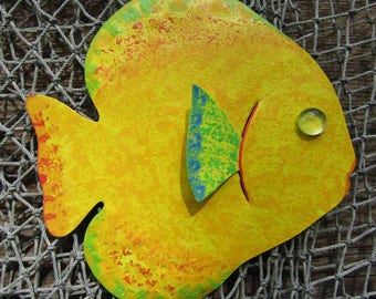 Metal Wall Art Fish Sculpture Recycled Metal Beach House Coastal Bathroom Decor Yellow Lime Green 7 x 7
