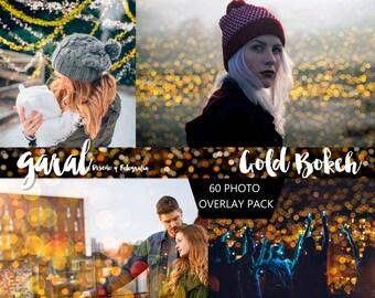 60 GOLD BOKEH Photoshop Overlays, overlays, bokeh, gold, christmas, Photo editing, Lights Effect, Golden Garland, wedding, mini sessions