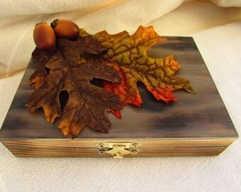 Ready To Ship Rustic Woodland Wood Burned Personalized Ring bearer Box Fall Wedding