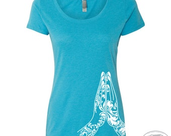 Womens NAMASTE Hands TriBlend Scoop Neck Tee - T Shirt S M L XL XXL (+ Colors)
