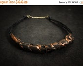 40% OFF Sale Stylish statement leather necklace Copper color Unique leather jewelry