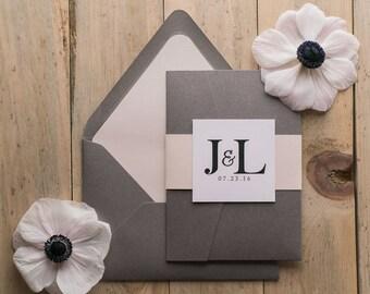 Digital  - Grey and Blush Romantic Pocket Folder Wedding Invitations - SAMPLE (DIANE)