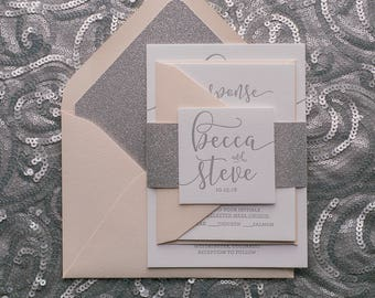 Letterpress - Blush and Silver Glitter Wedding Invitations - SAMPLE (CHELSEA)