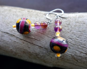 Elegant Glass Lampwork Bead Earrings | Purple and Gold Dangle with Silver Accents