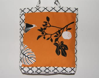 Tote Bag with Orange Branch and Bird