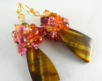 25OFF Tigers Eye and Gemstone Cluster Dangle Gold Earrings