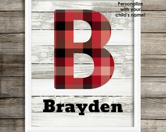 Personalized Baby Boy Nursery Wall Art Woodlands Nursery Child Wall Art Rustic Nursery Red Black White Buffalo Plaid Gift For Baby Shower
