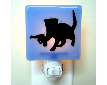 Funny Cat Night Light - Kitten With a Gun - Hand Painted Glass - Funny Gift