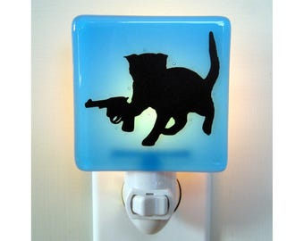 Funny Cat - Kitten with a Gun - Fused Glass Night Light