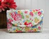 Snap Pouch / Large Snap Pouch / Cosmetic Pouch ... Retro 30's Child Smile Floral Bouquet / Lecien Fabrics