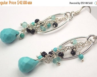 30% SALE Arizona Turquoise Dangle Earrings Wire Wrapped Sterling Silver Hoop Spring Fashion under 50