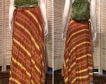 Vintage Indian Wrap Skirt True Vintage Hippie Skirt or wrap dress Block print floral with Stripes Festival Skirt or Sundress India Imports