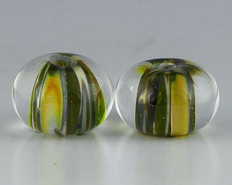 handmade lampwork glass beads matched earring set rondelles in organic green & brown frit - Safari Pair