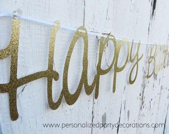 Happy Birthday Gold Glitter Banner, Happy Birthday Banner, Birthday Party Decorations- Quick SHIP