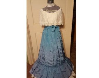 Vintage 70's/80's gown teal aqua blue maxi lace caplet  Victorian style