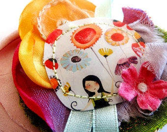 25% Off - Summer SALE  Herborarium - unique and handmade fabric and paper brooch