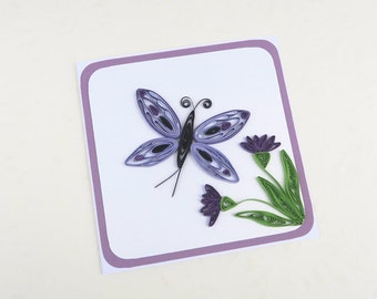 SALE Paper Quilled Butterfly Card- Paper Quilling Butterfly -Paper Quilled Purple Paper Flowers- Birthday -Thinking of You - Australia