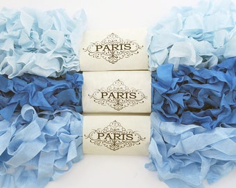 Seam Binding Ribbon, Blue, Rayon Shabby Crinkled Ribbon, French Vintage,Scrapbooking,Sewing,Doll Making, Shabby Ribbon,Australia.Sonata Blue