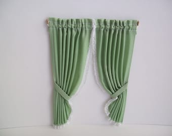 One inch scale, Green curtain treatment, with white trim, includes rod