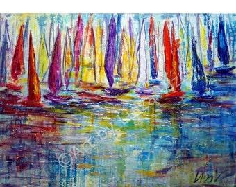 Original Painting  Sailing Competition Large Canvas Acrylic Artwork by Luiza Vizoli 40x30 Ready to Ship