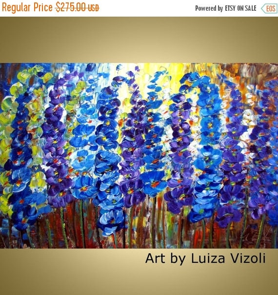Flowers Oil Painting Modern Wall Decor Floral Fine Art BLUE GARDEN  36x24 Canvas by Luiza Vizoli