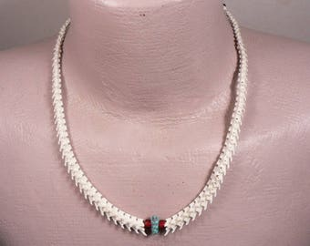 Rattlesnake Vertebra Bone Choker / Necklace with real Turquoise Nugget and Glass White Heart beads